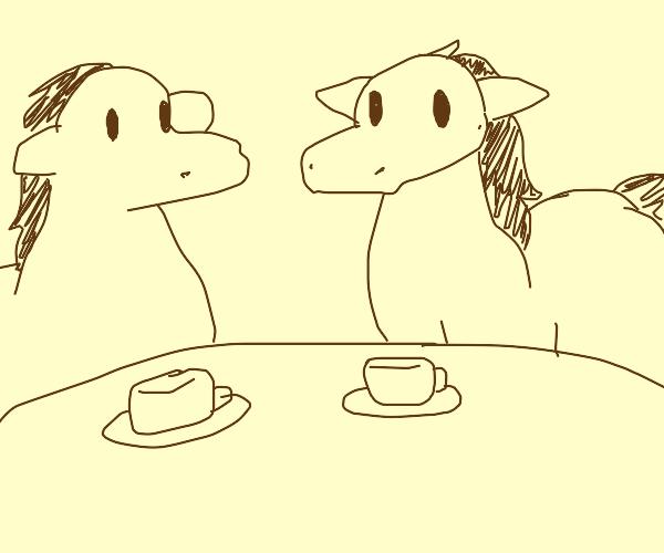 Two horses drinking tea having lovey morning