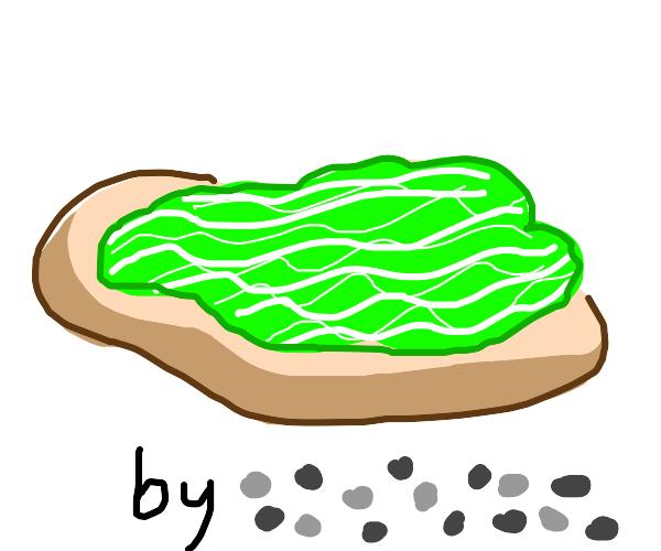 lettuce on bread by pebbles