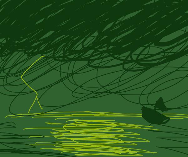 Thunderstorm over ocean