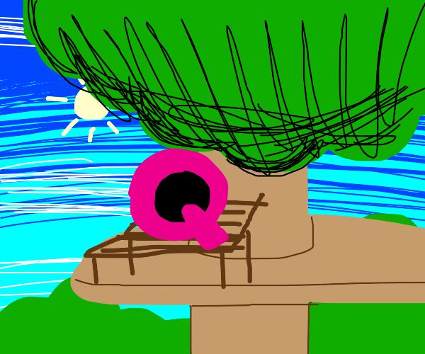 Q hanging on tree on tree bench