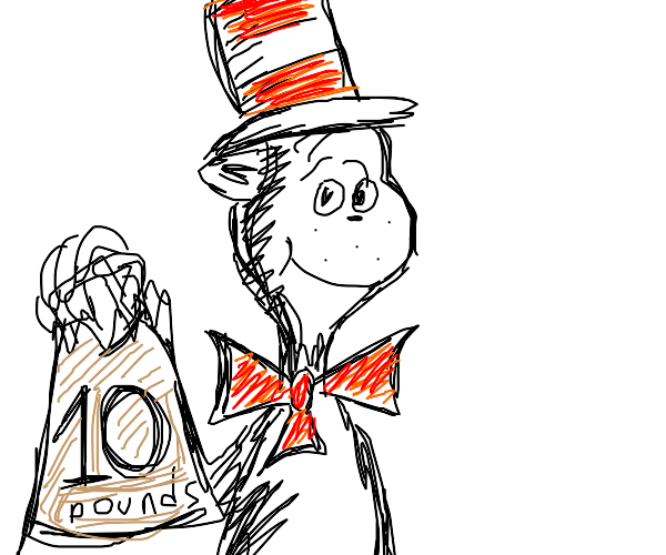 The cat in the hat holds a 10 lbs bag