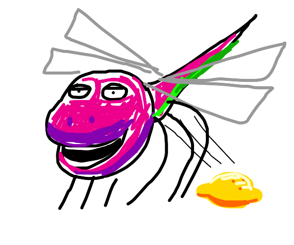 barney dragonfly shits a lemon