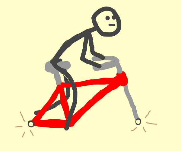 Guy Rides Bike with No Wheels