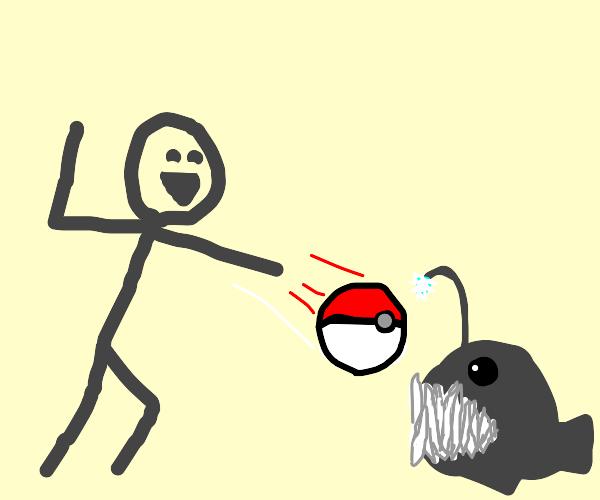 man mistakes angler fish for pokemon