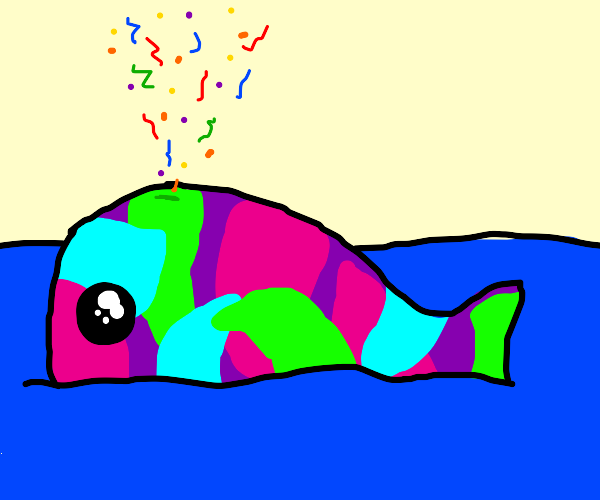 Colorful whale shoots confetti from spout