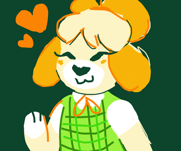 Isabelle from Animal Crossing waves hello!
