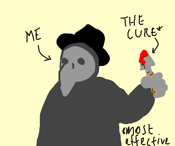 Confused Plague Doctor with a Bloody Trowel