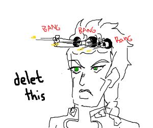 Giorno shooting bullets from his hair donuts