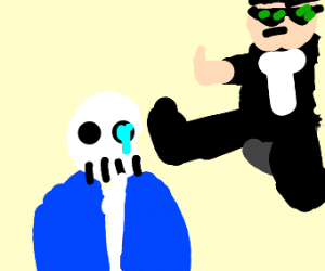 sans gets kicked