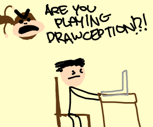 monkey angry at person playing drawseption