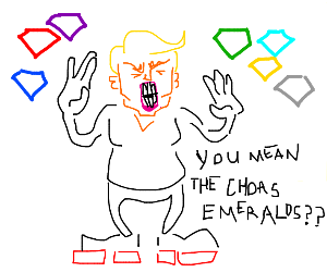 Donald trump with chaos emeralds