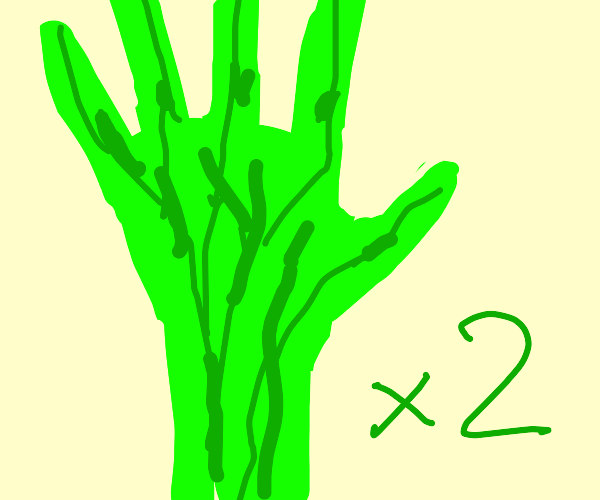 green hands w/ veins