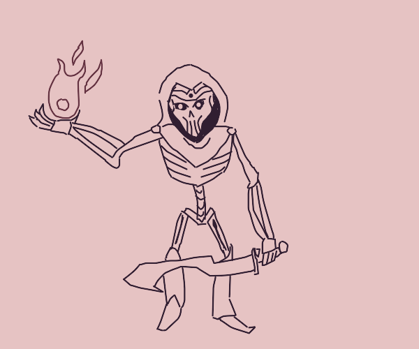 evil skeleton hood man