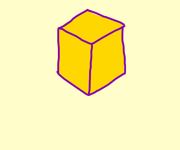 drawing of a yellow cube