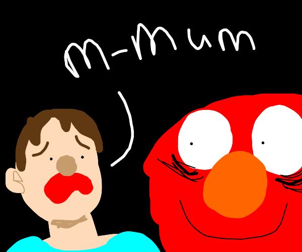 Child is afraid of Elmo