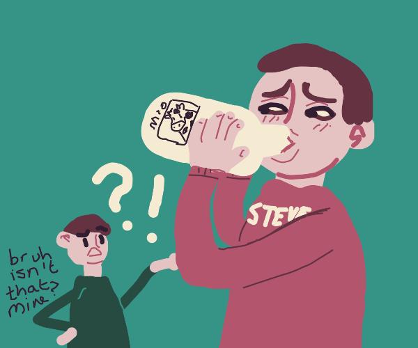 Guy confused because Steve drinks his milk