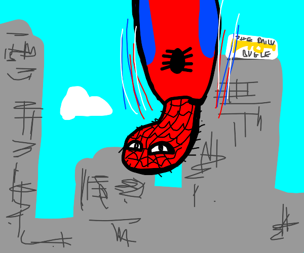 Spooderman falling from the sky