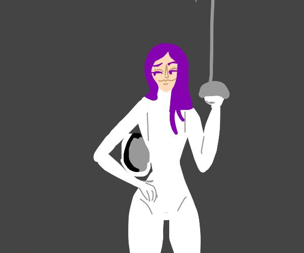 purple haired swordsman