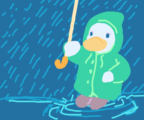 duck in coat an umbrella splashing water