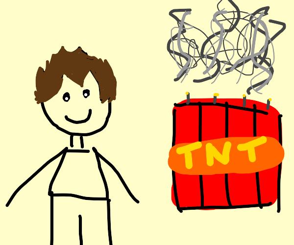 Stupid guy let's TNT smoke