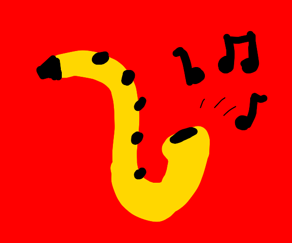 a saxophone with a red background