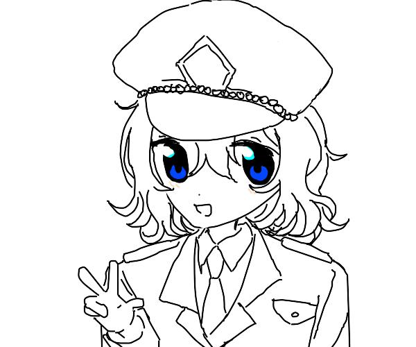 Curly hair chibi military girl