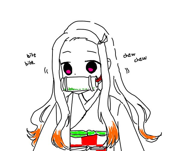 Anime girl eating bamboo like corn on the cob