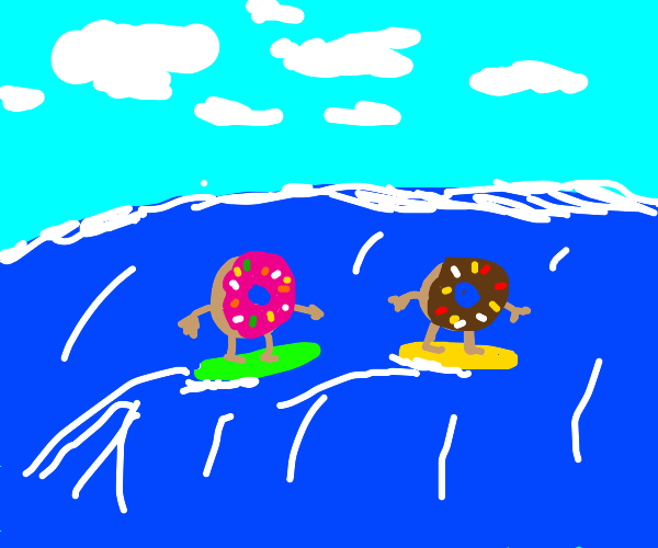 donuts try surf boarding
