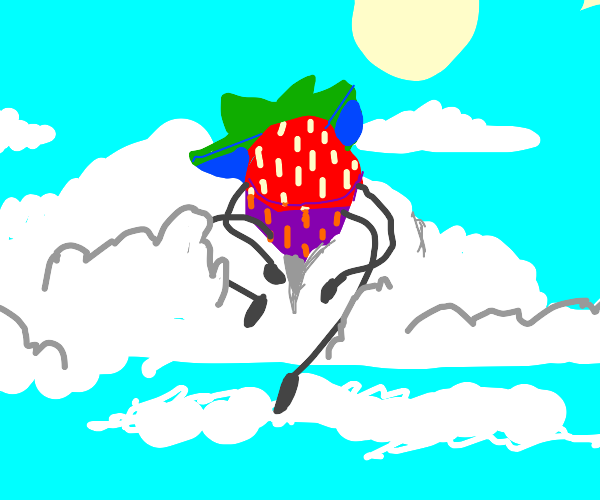 Strawberry in the sky sitting on a cloud