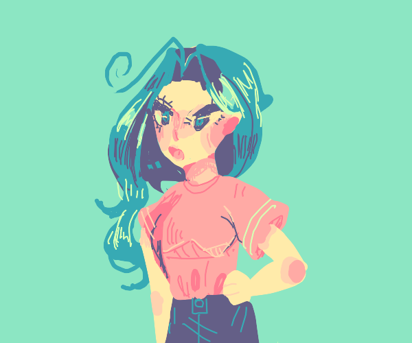 young  girl with blue hair and pink tee yells