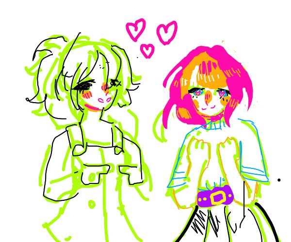(Gay) Cute girls flirting nervously