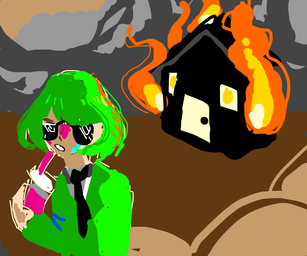 Arsonist in green suit walks away from crime