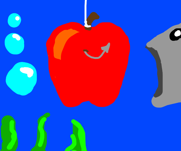 Fishing with an apple