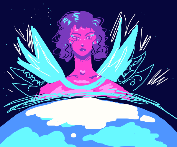 Winged goddess watches upon earth