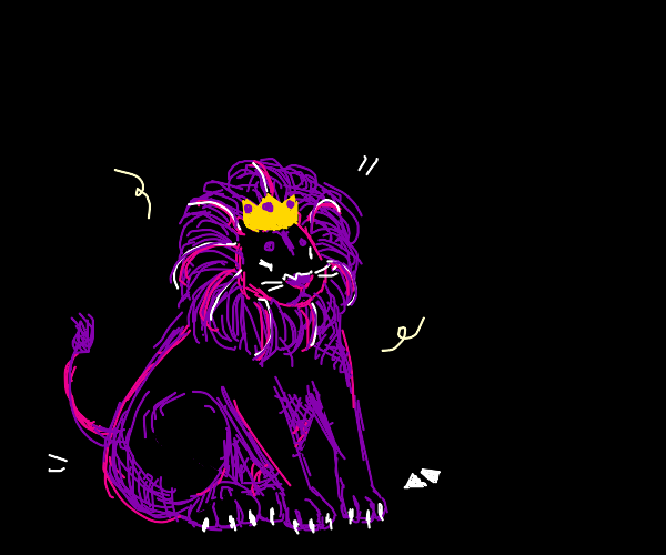 a purple lion with a crown