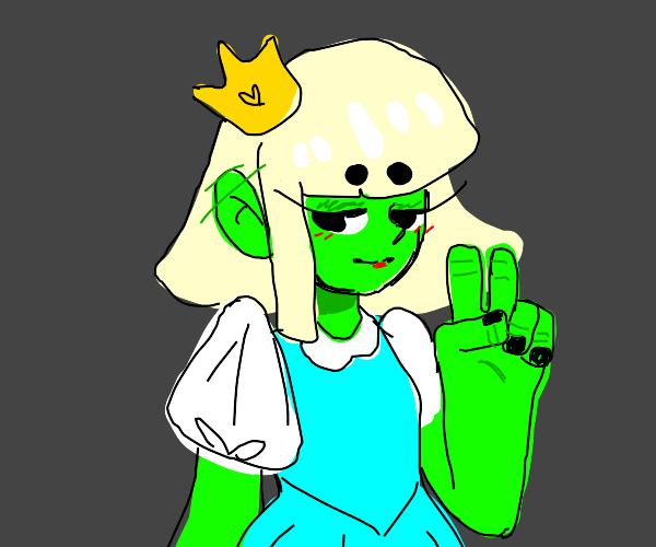 blonde green-skinned humanoid alien princess