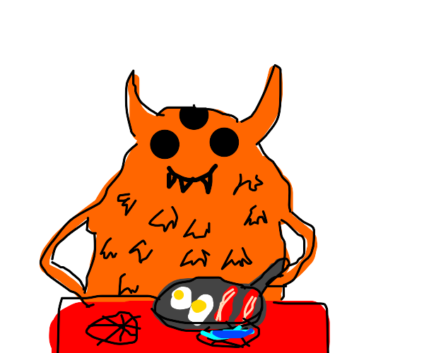 Orange Monster cooking eggs and bacon