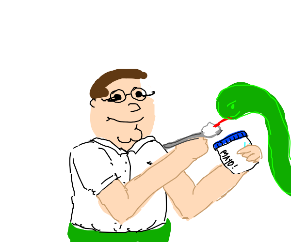 Egyptian Peter Griffon feeding a snake mayo