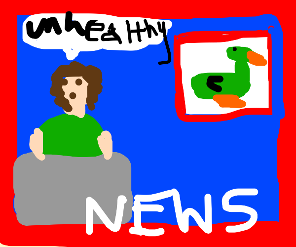 News reporter says green ducks are unhealthy