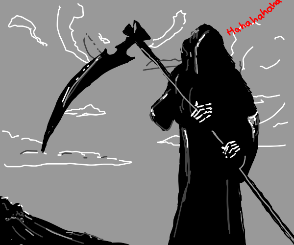 grim reaper with a background saying hahahaha