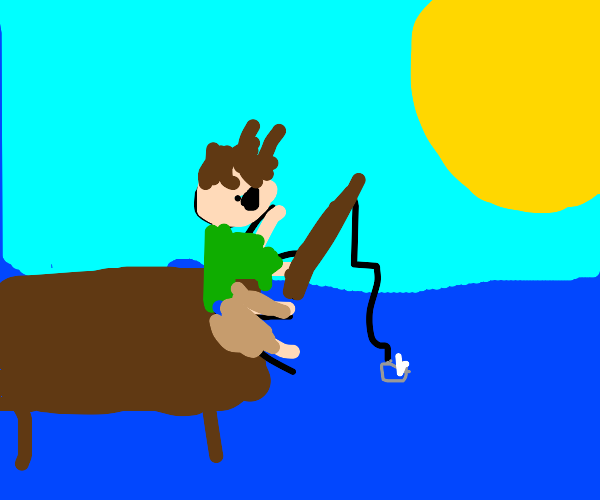 Stick man fishing a wedding ring in a dock