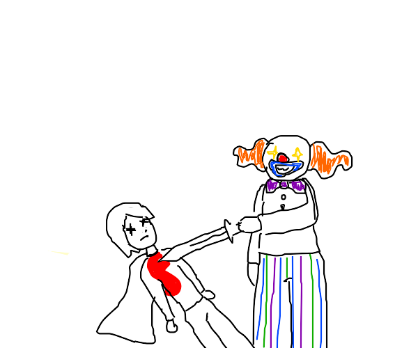 A weird clown thing stabs a hero with a sword