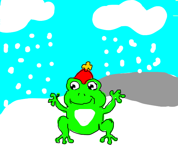 mr. frog in the snow