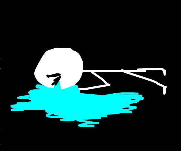 Crying man laying face-down