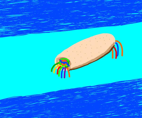 Gummy worm burrito