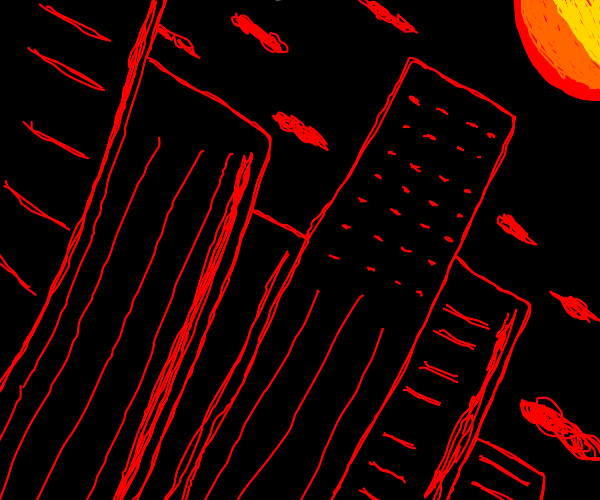 A red city at night
