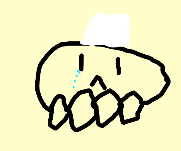 Skeleton chef crying
