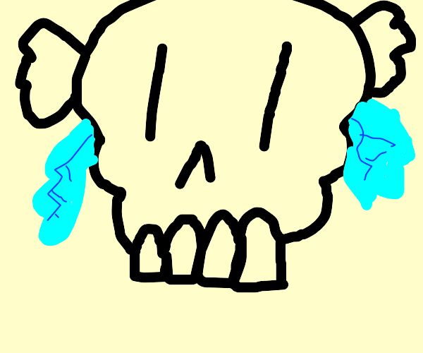Skull with translucent angel wings