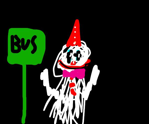 creepy clown at the bus stop