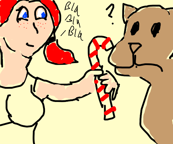 candy cane gal chats with confused dingo
